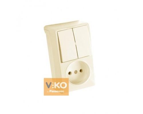 Вертикальний блок Вимикач 2кл. + Розетка, VERA крем,90681289