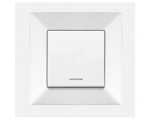 Вимикач 1-й прихованого монтажу + підсвічування, MERIDIAN, біла,90970019-WH