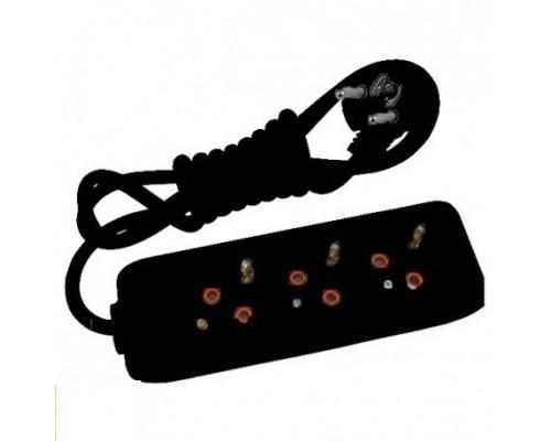 Подовжувач 3 гн. 3 метра з/заз (Multi-Let), чорний,90134303