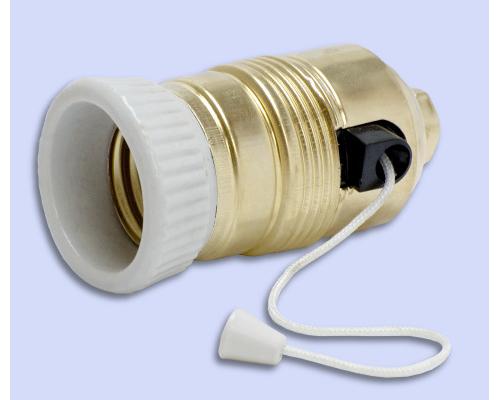 Фарфоровый цоколь Е27 с выключателем